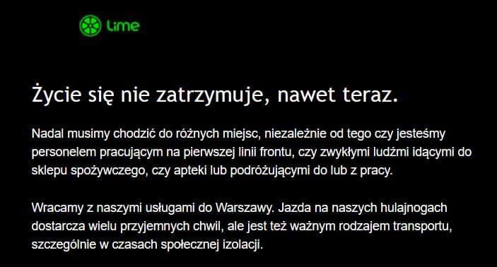 Lime powrót Warszawa