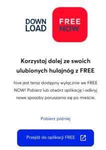Hulajnogi hive będą dostępne tylko w aplikacji Free Now