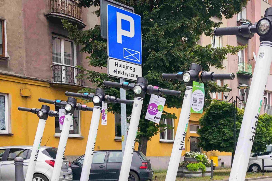 Hulajnogi - parkowanie - Sosnowiec