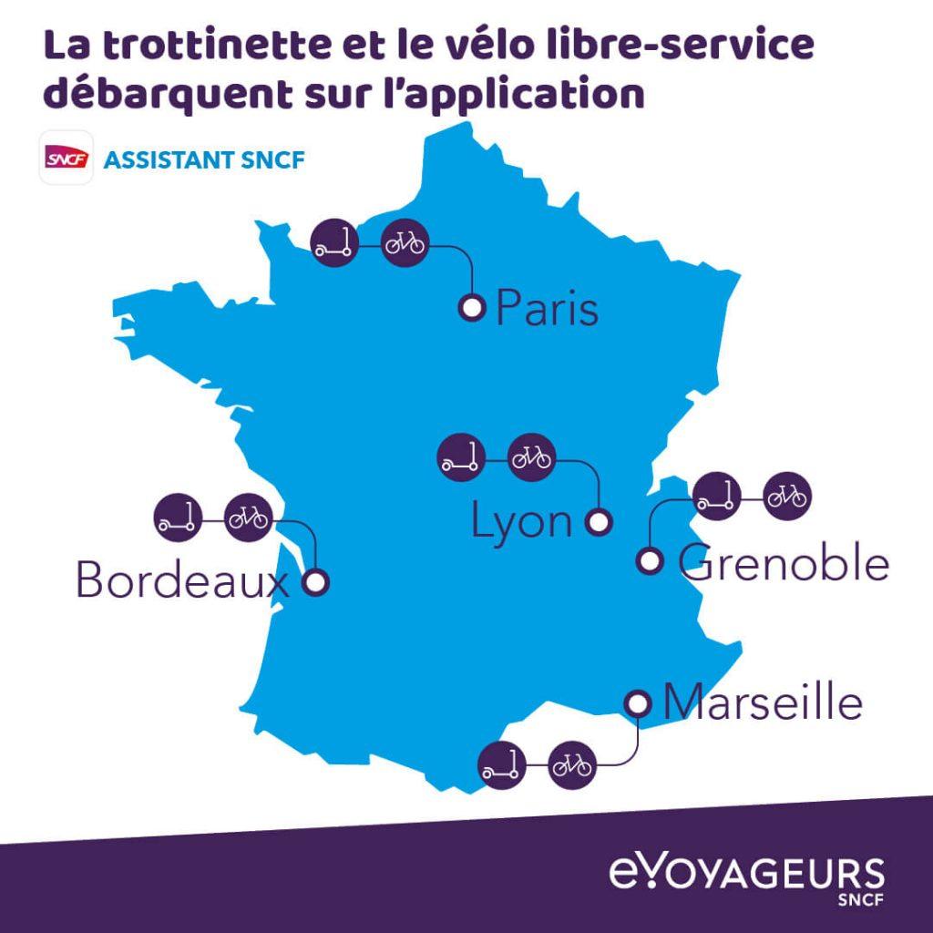 Kolej SNCF wprowadza hulajnogi i rowery do swej aplikacji