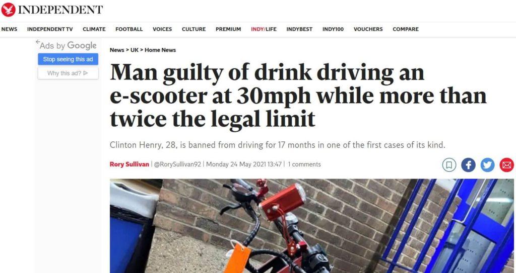 Wielka Brytania - media informują, że za jazdę elektryczną hulajnogą po alkoholu kierujący dostał zakaz prowadzenia pojazdów